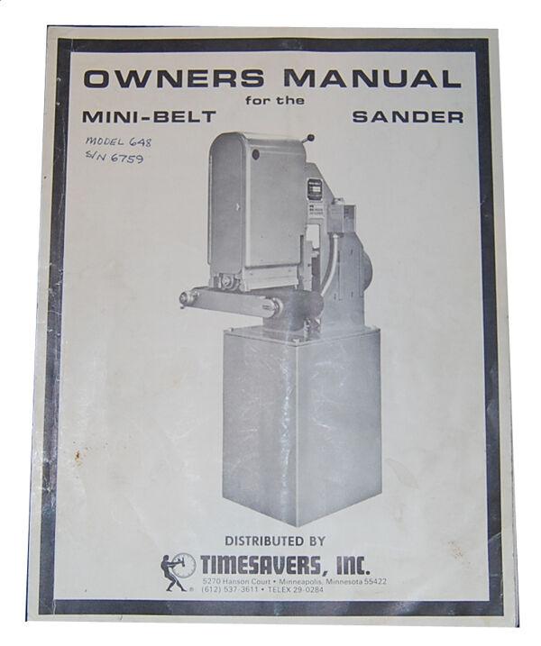 Timesavers Model 648 & 948 Belt Sander, Owners Manual