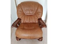 Pair of Tan Leather Solid Hardwood Chairs