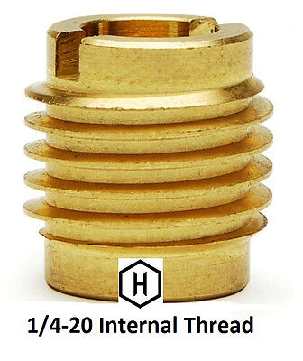 E-Z Lok P/N 400-4, 1/4-20 Threaded Brass Insert For Wood (10 Pieces)