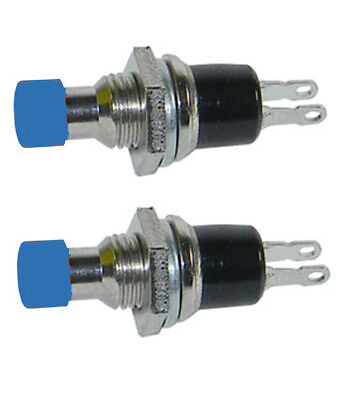 2 Pack SPST Normally Open Momentary Push Button Switch Blue    32728B