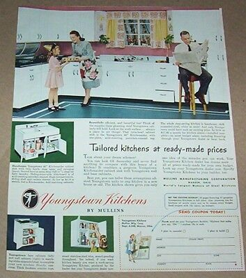1948 print ad -Youngstown Kitchens little girl mom dad family home advertising