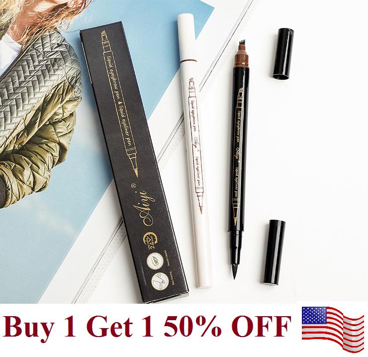 2 in 1 Microblading Eyebrow Pen +eyeliner  Waterproof Fork Tip  Long Last Pencil Eyebrow Liner & Definition