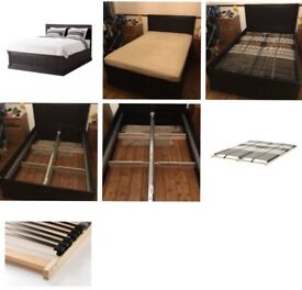 IKEA Fjell double storage bed base, Leirsund slays and mattress. Collection only from N15