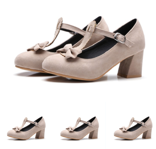 Womens Sweet Chunky Blok Heel Bowknot Sweet Mary Janes Ankle Strap Lolita Shoes