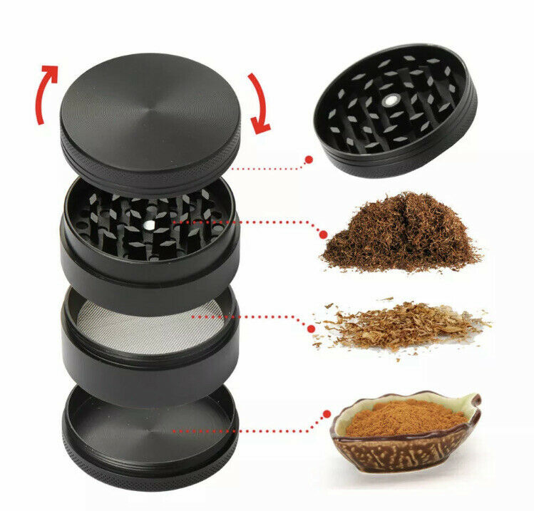 Tobacco Herb Grinder Spice Herbal Alloy Smoke Crusher 4 Piece Metal Chromium Blk