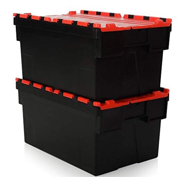 Industrial storage boxes heavy duty with lids 80 litres ...