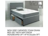 A brand new bed with mattress