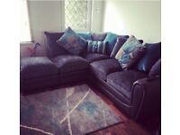 Corner sofa- grey/teal