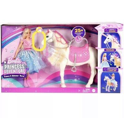 NEW Barbie Princess Adventure Prance & Shimmer Horse, 25+ Lights and Sounds