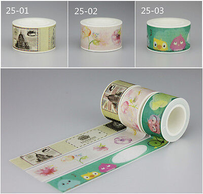 Assorted Color Floral Washi Tape UK Flower Birds Dialog Box Wide Fat 2.5cmx10M