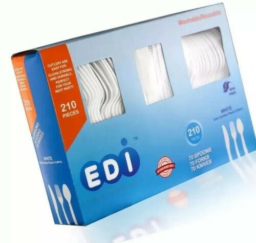 white disposable plastic cutlery set 210 count