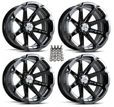 "MSA M12 Diesel ATV Wheels/Rims Black 14"" Yamaha Grizzly Rhino (4) for sale  Middleport"