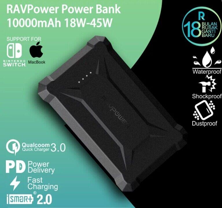 RavPower Power Bank 10050mAh Waterproof QC3.0 Quick Charge 1