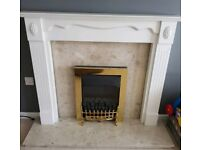 Complete white fire place with as new fire
