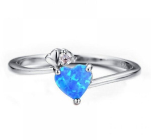 Sterling Silver Rings - Rainbow Heart  Birthstone Ring: