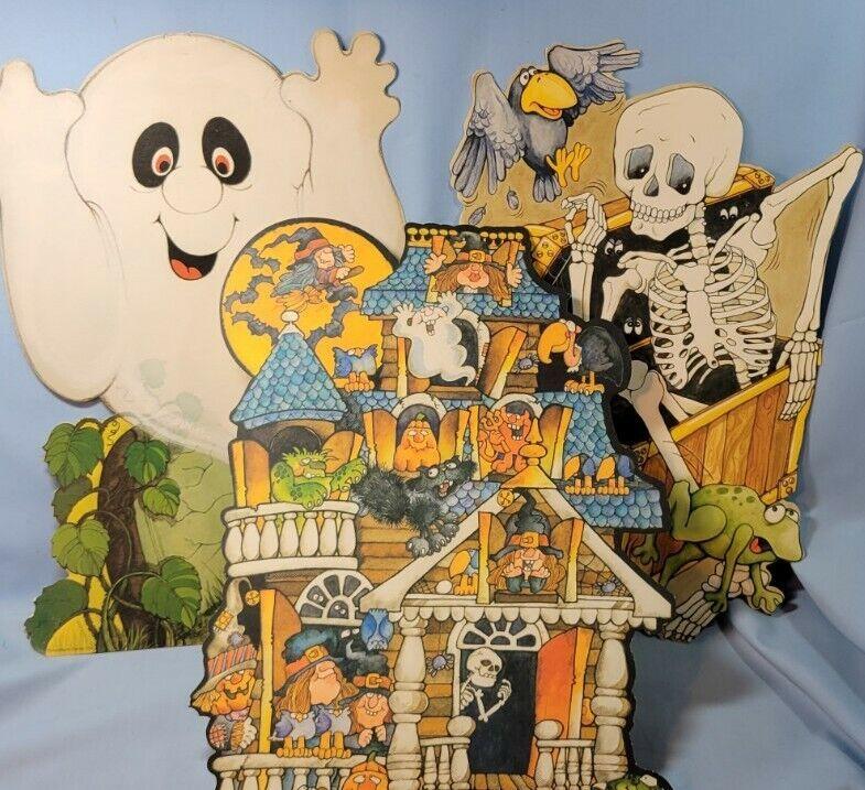 Vintage Halloween Lot of 3 Die Cut Decorations HAUNTED HOUSE, SKELETON & GHOST