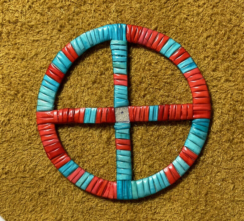 Beautifully Colored Lakota Sioux Quilled Medicine Wheel Quilled On Rawhide
