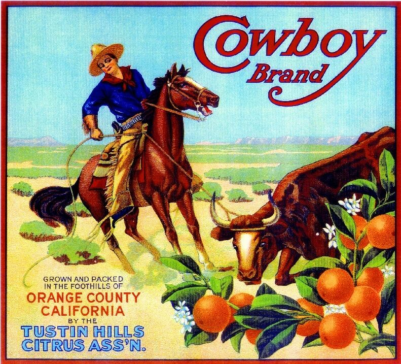 Tustin Orange County Cowboy #1 Orange Citrus Fruit Crate Box Label Art Print