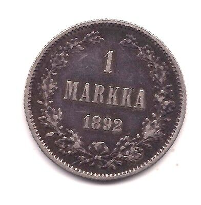 1892-L Finland Silver Markka --Very Strong Details !!
