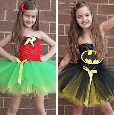 Halloween Girls Batman Fancy Dress Superman Kids Cosplay Hero Costume Robin NEW - Batman And Robin Halloween Costumes For Girls