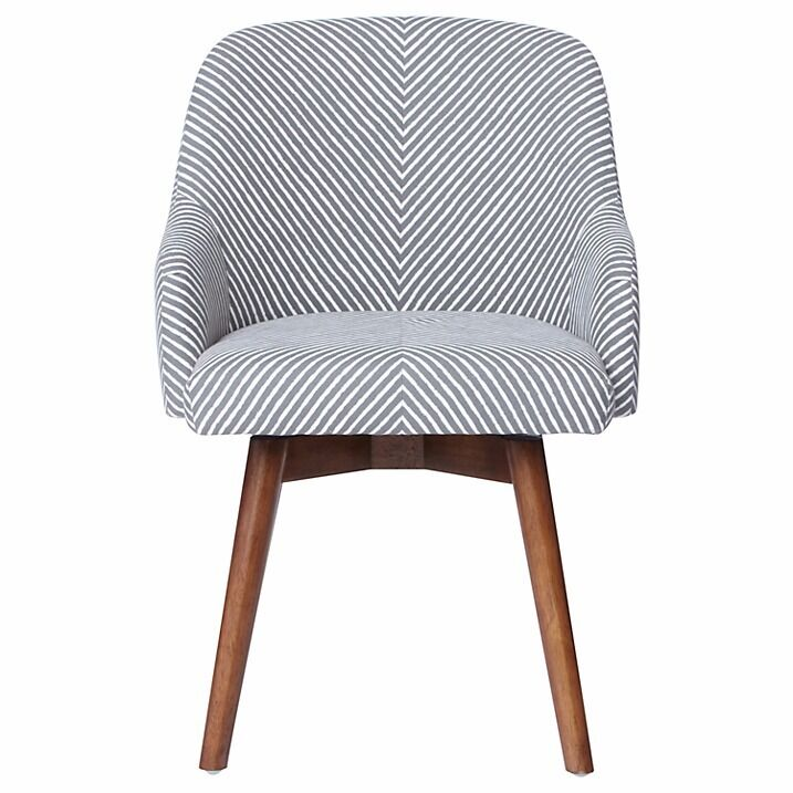 West Elm Saddle Office Chair In White Gray Stripe Nearly New