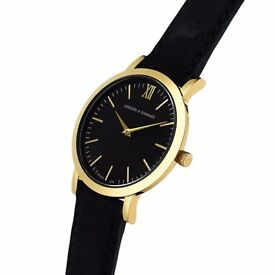 Larsson & Jennings LUGANO Black and Gold watch 33mm NEW