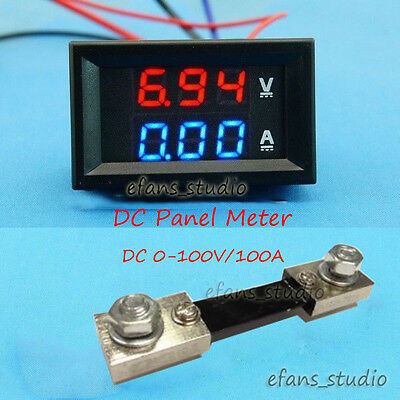 Dc 100v100a Car Dc Digital Voltmeter Ammeter Led Amp Volt Meter Current Shunt