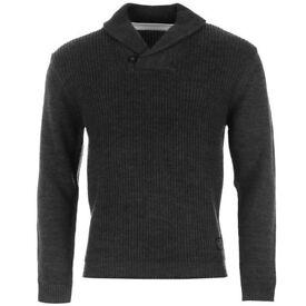 Pierre cardin grey shawl jumper XXL very thick warm jumper black or grey
