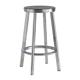 Designer by Magis of Italy 2 x Polished Aluminium Bar Stools