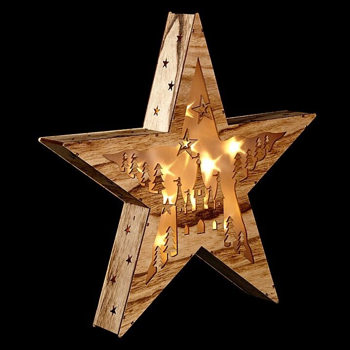 Illuminated Wooden Natural Christmas Light Up Star Box Decoration