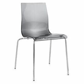 John Lewis Gel Chrome Leg Dining Chair, Smoke