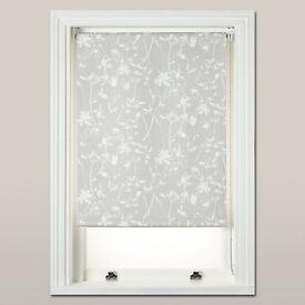 4 x John Lewis Croft Collection Freya grey floral blackout roller blinds