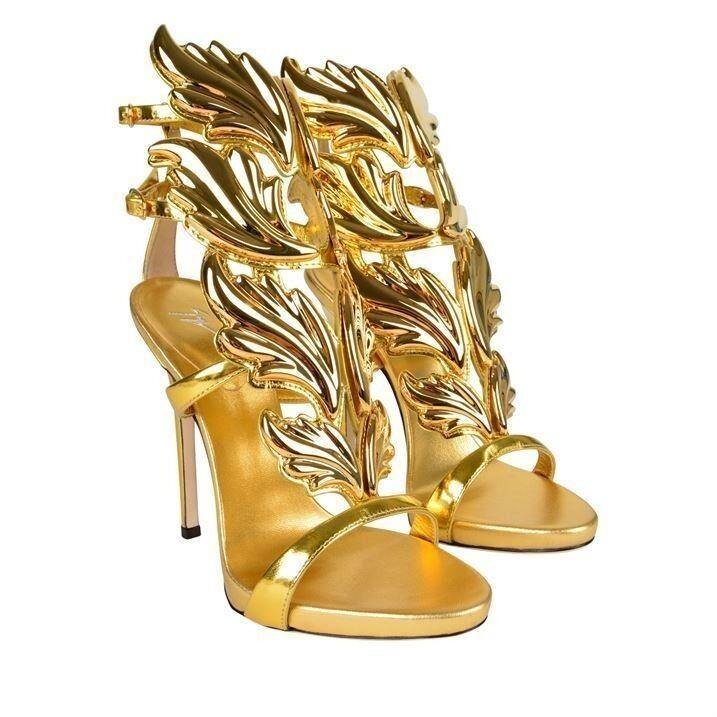 GIUSEPPE ZANOTTI CRUEL GOLD WING SIZE 37 WOMENS HIGH HEEL