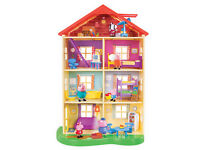 Peppa Pig House Big Lights Sounds Family Home 13 accesories 3 figures New