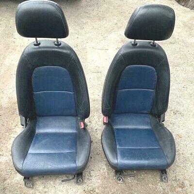 MAZDA MX5 MK2 BLUE & BLACK LEATHER SEATS WITH HEADRESTS