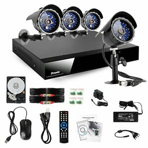 Zmodo Outdoor CCD 65ft IR Video Surveillance Camera System 4 Channel DVR 500G HD