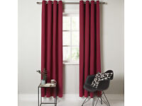 "John Lewis Cotton Rib Claret Lined Eyelet Curtains W228 cm x 228 drop 90""x 90"""