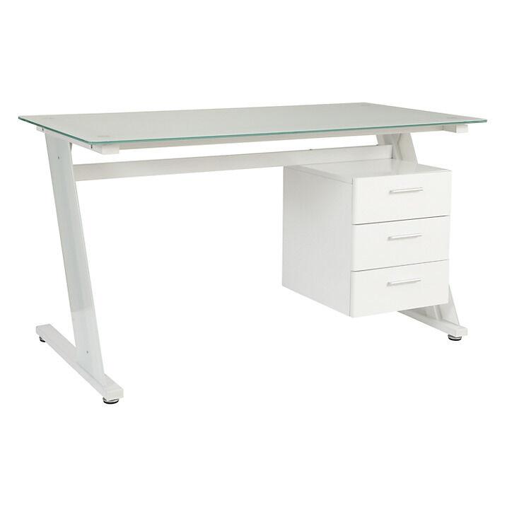 John Lewis Zane Desk White Glass. Computer Desk