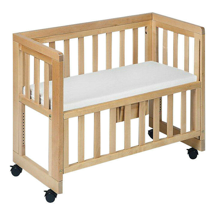 John lewis troll co sleeper bedside cot dropside for Baby bed with wheels