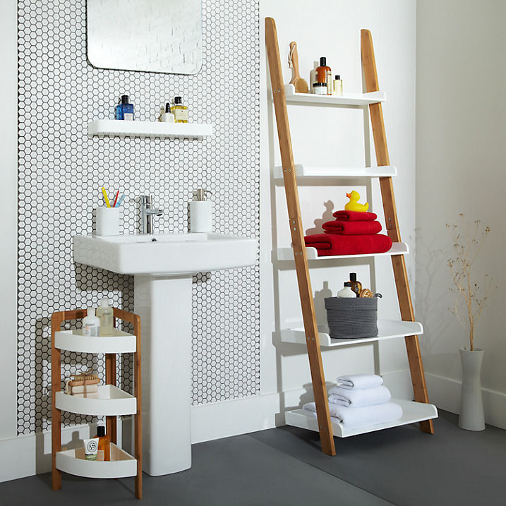 John Lewis Bamboo 5 Tier Bathroom Shelf, Natural Standing Shelving ...