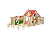 Wooden Farmyard, Animals and Stable Set with Accessories Playsets Children Christmas