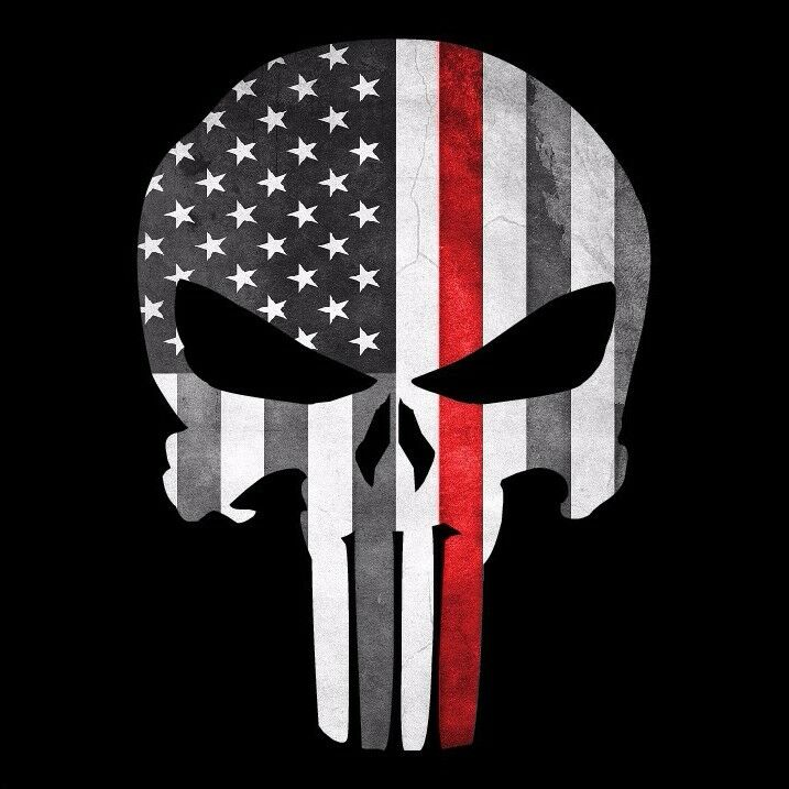 Punisher Skull Firefighter Quot Thin Red Line Quot Grunge Flag