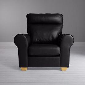 John Lewis Walton II High Back Scroll Black Leather Armchair Black RRP £1399