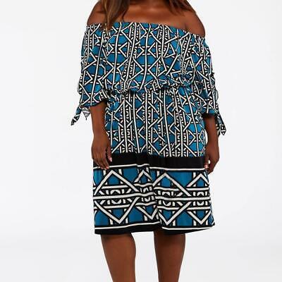 ASHLEY STEWART OFF-SHOULDER BORDER PRINT DRESS 22/24 *TAHITIAN PRINT* NWT Border Print Dress