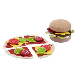 Burger and Pizza Roleplay Set with accessories Soft Pretend Food Children Christmas