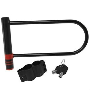 "Bicycle Bike U-Lock w/ 2 Keys & Mounting Bracket - 12"" x 7.5"""
