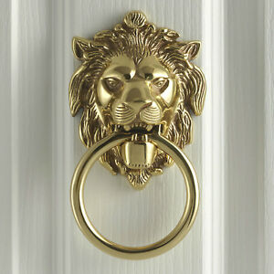 Anvil polished brass large lion 39 s head georgian antique period door knocker ebay - Large lion head door knocker ...