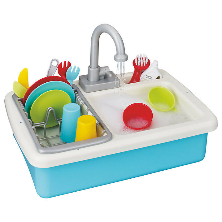 NEW Wash Up Kitchen Sink 15 Accessories Playset Real Working Water Pretend  Kids Toy