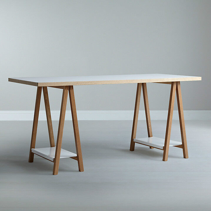 House By John Lewis Highbury Trestle Desk Or Dining Table White And Wood  RRP £399