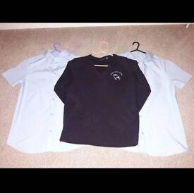 Poole high school uniform. Jumper and short sleeved shirts bundle